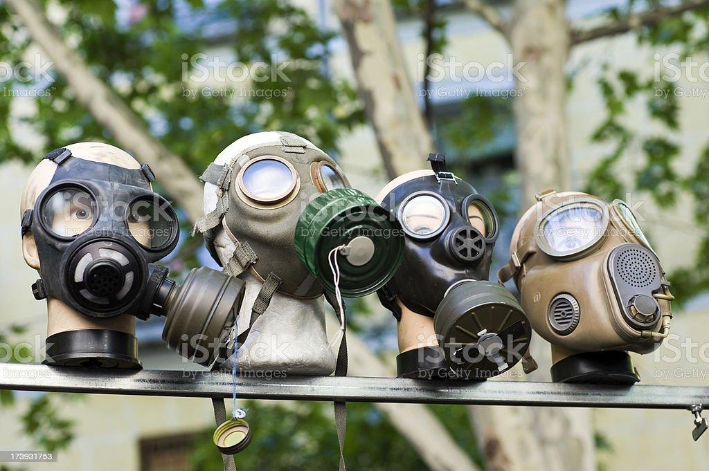 Masks for biochemical warfare stock photo