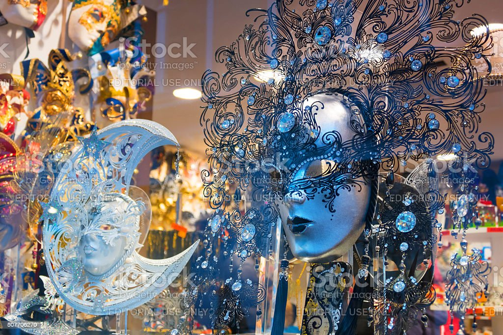 Masks from Venice carnival - moon and sun stock photo