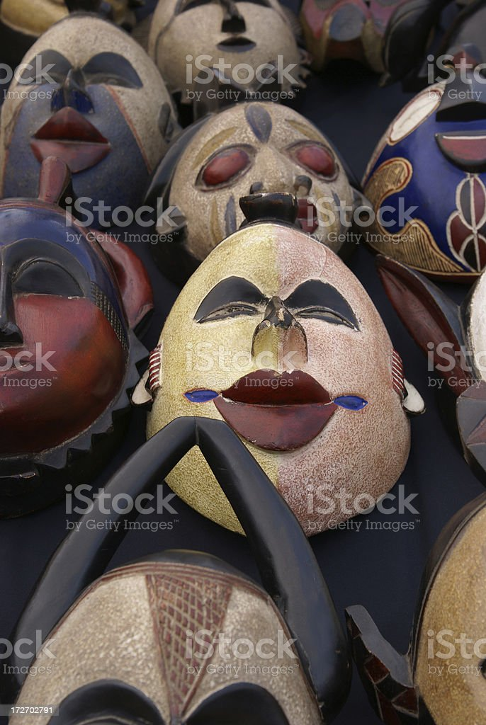Masks on a table royalty-free stock photo