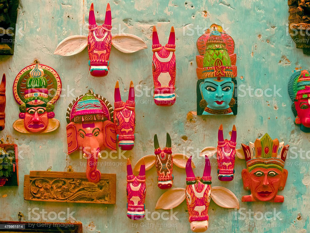 Masks outside of a shop kept for selling stock photo