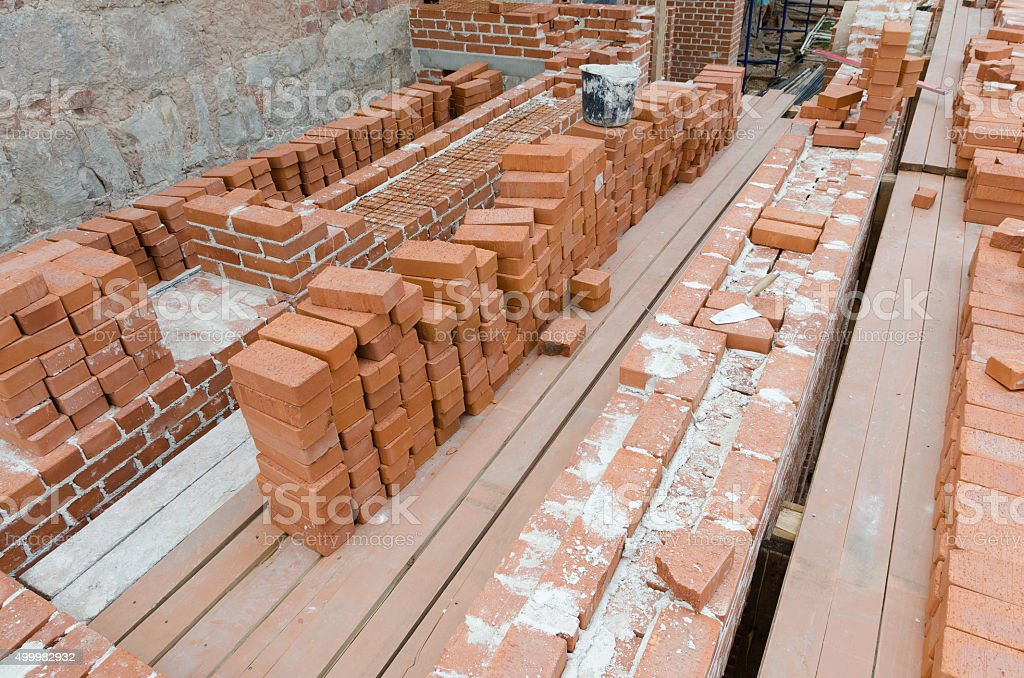 Mason bricklaying background stock photo