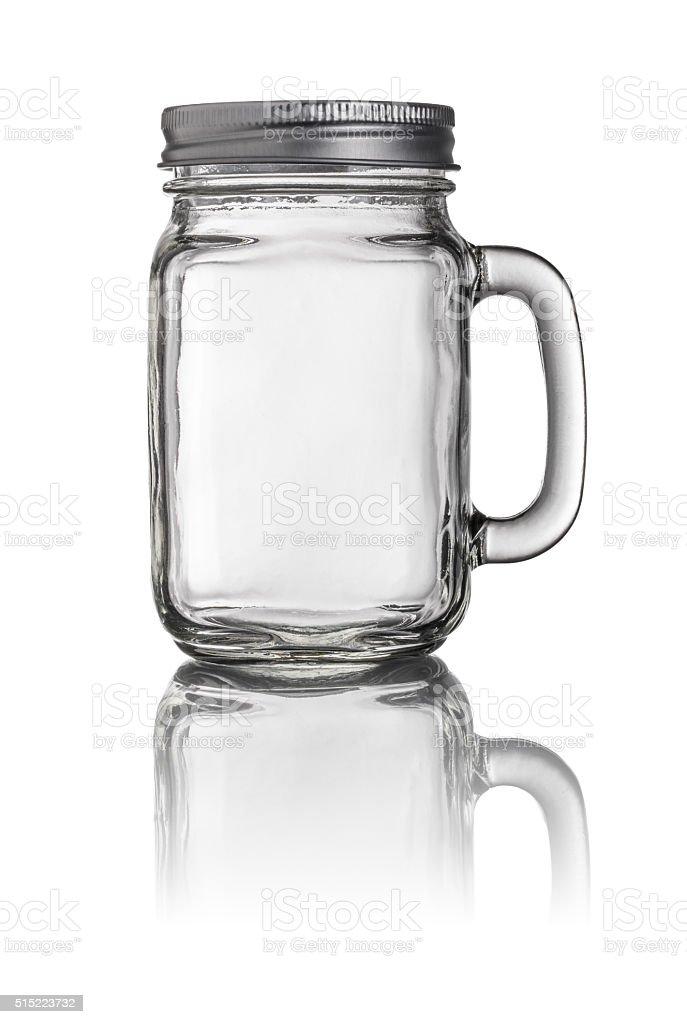Mason Jar drinking glass with a handle stock photo