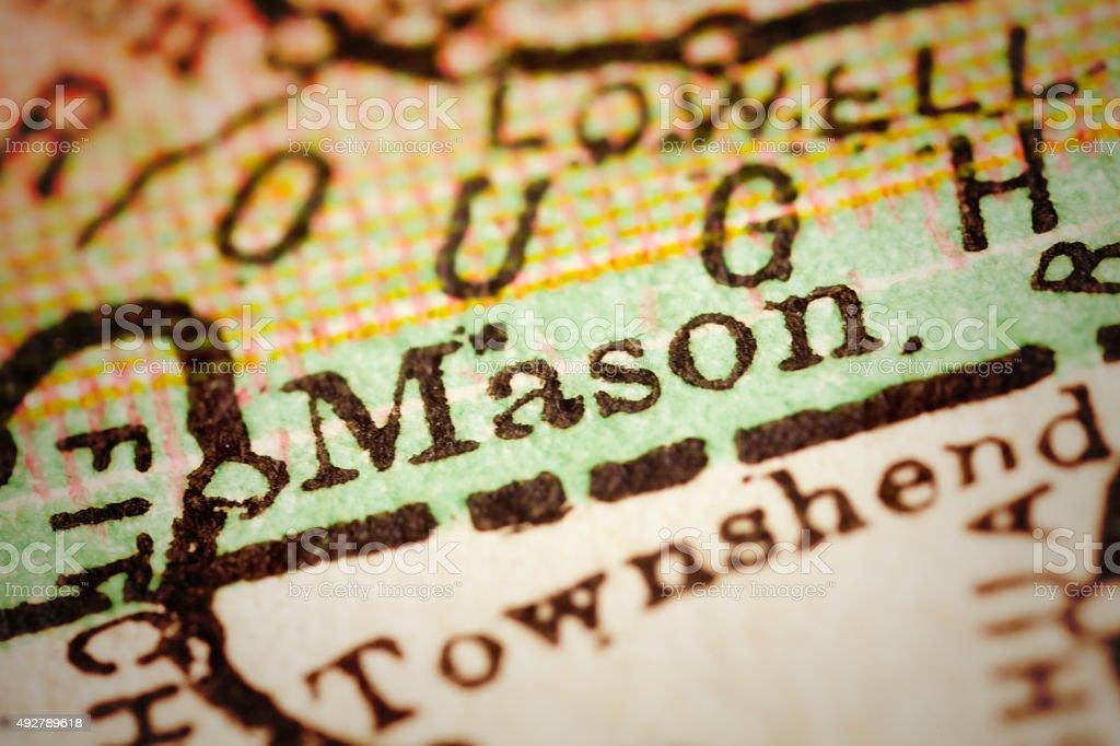 Mason, New Hampshire on an Antique map stock photo
