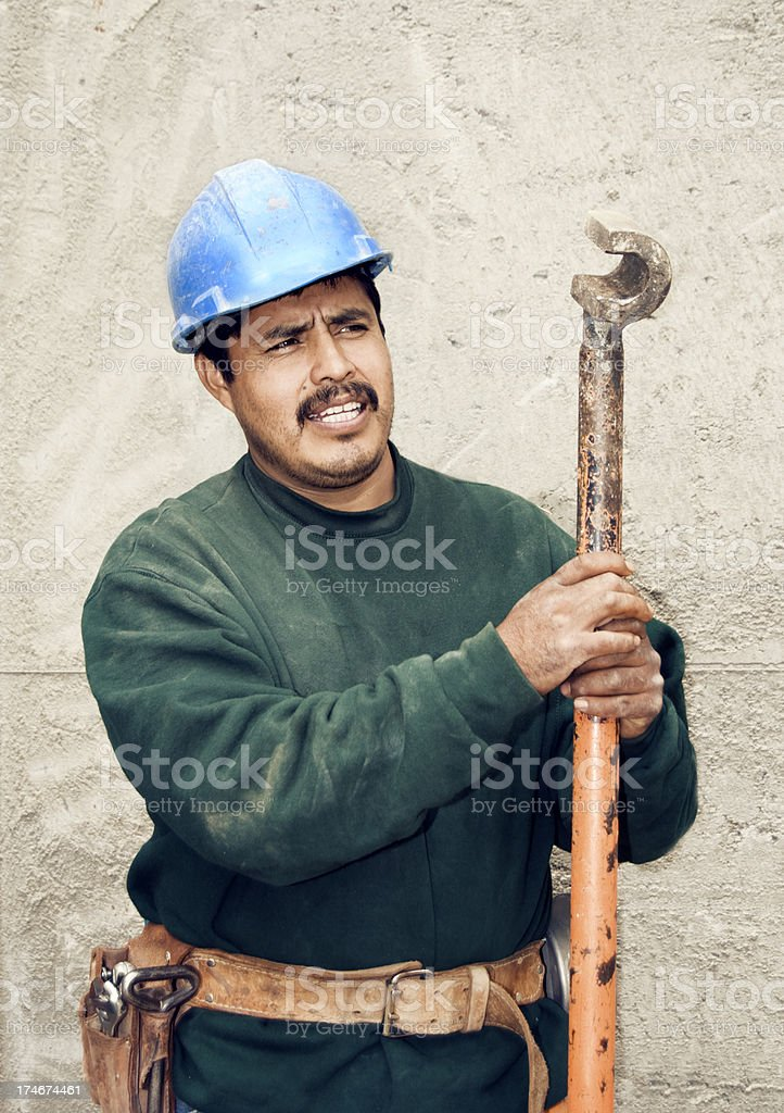 Mason with rebar bender royalty-free stock photo