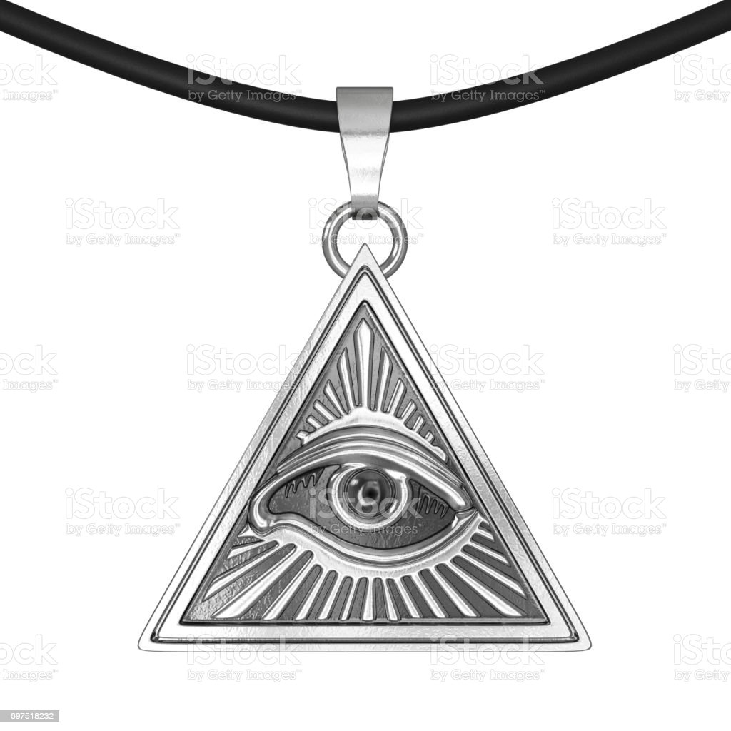 Masonic Symbol Concept.  All Seeing Eye inside Pyramid Triangle as Coulomb Amulet. 3d Rendering stock photo