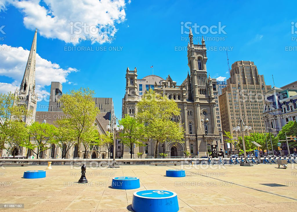 Masonic Temple and square in the Old City in Philadelphia stock photo