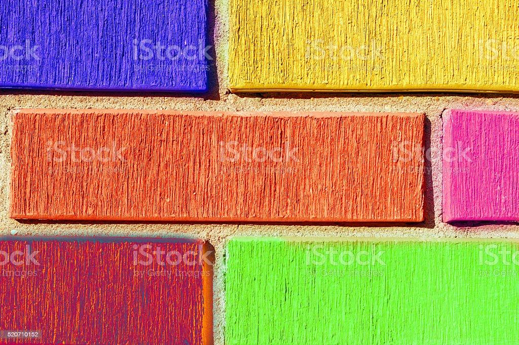 Masonry colored bricks wall stock photo