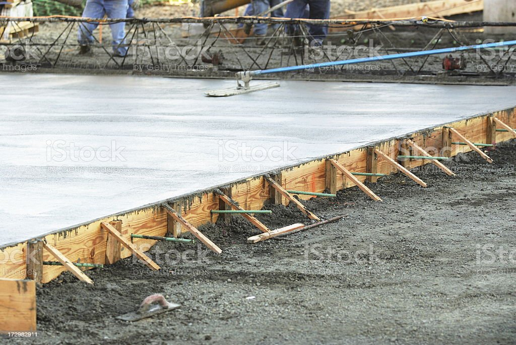 Masonry Construction Workers Concrete Foundation stock photo