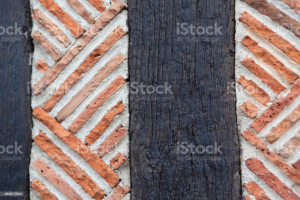 Masonry Half-timbering Calvados, France stock photo