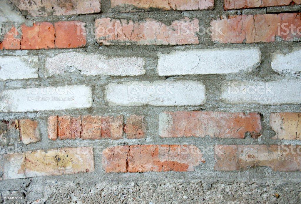 masonry is of white and red bricks stock photo