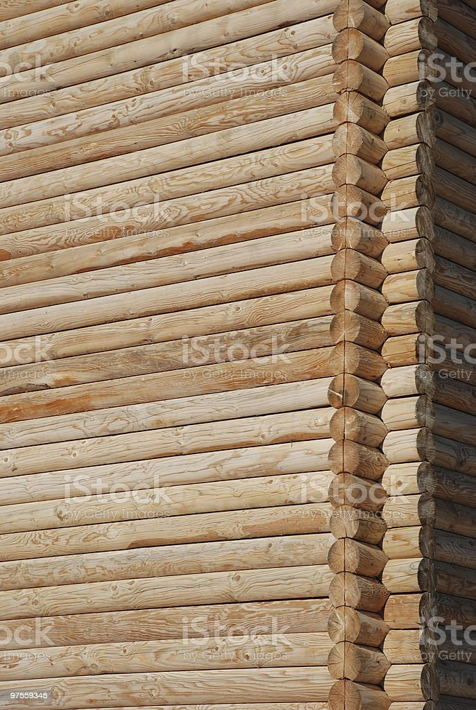 masonry of wooden logs royalty-free stock photo