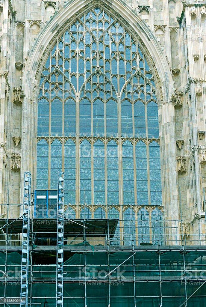 Masonry repair on York Minster in England stock photo