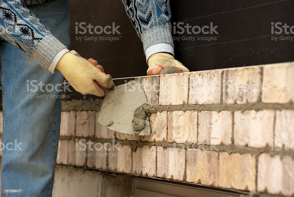Masonry Worker in Action royalty-free stock photo