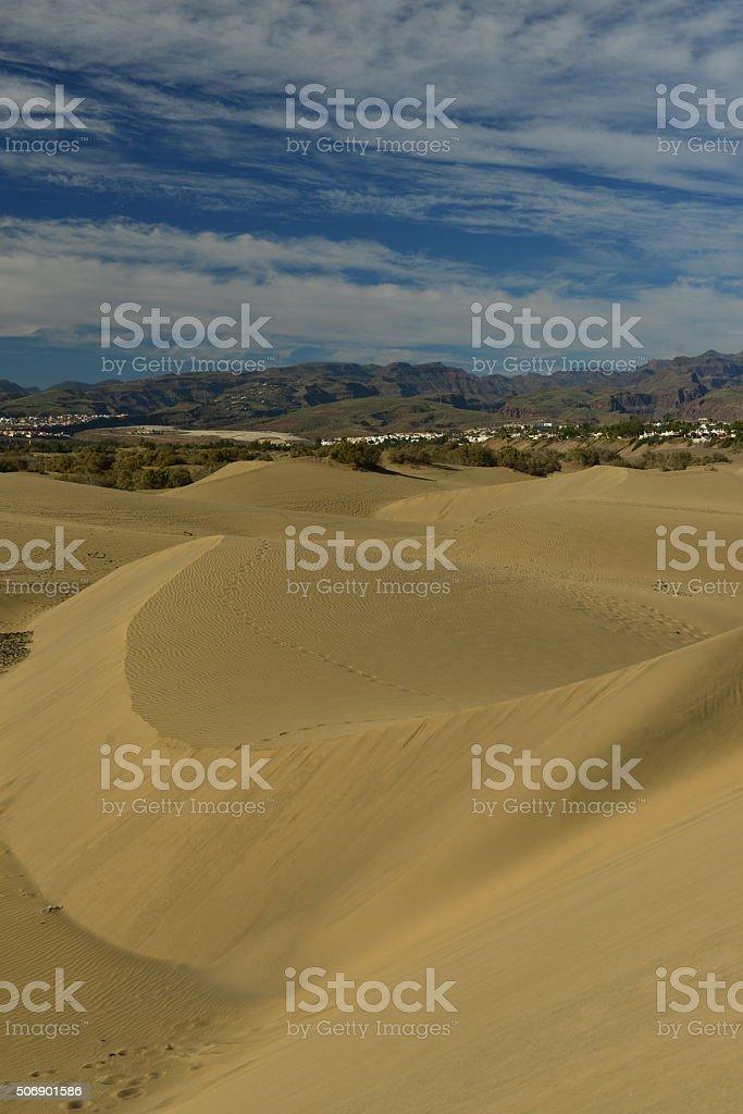 Maspalomas dune, Gran Canaria, Spain. stock photo