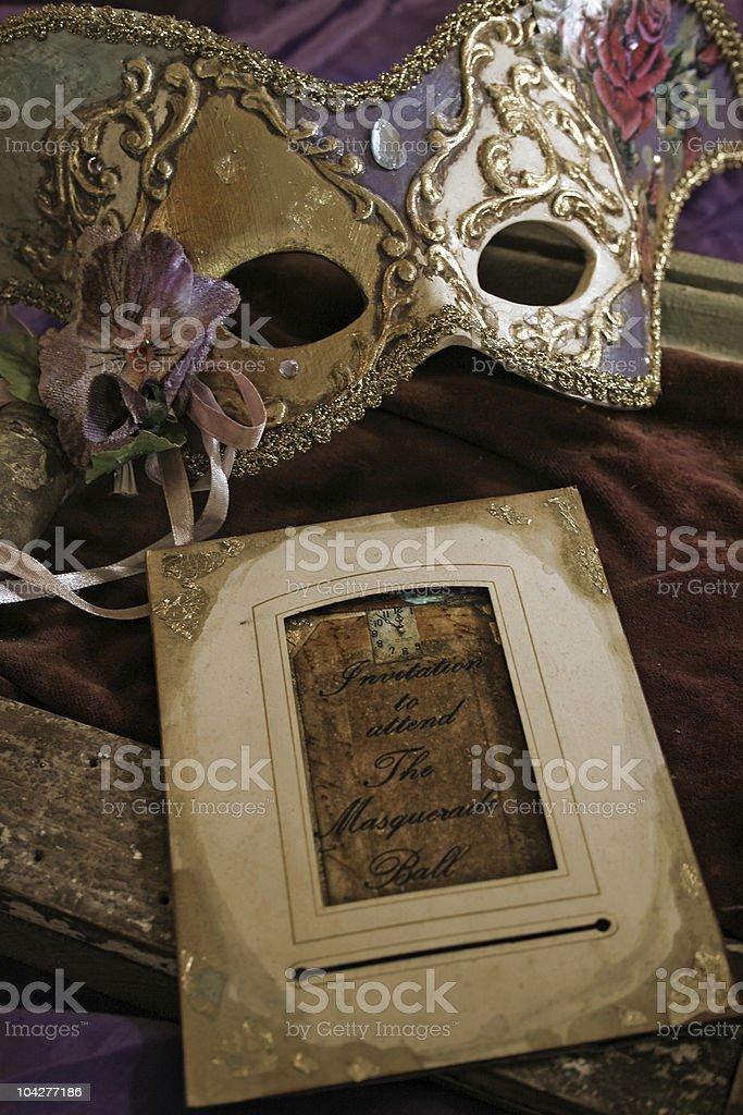 Masquerade Ball mask & invitation royalty-free stock photo