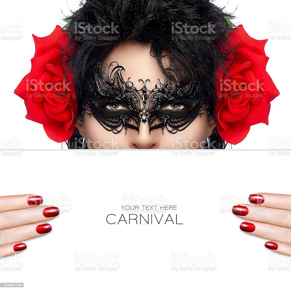 Masquerade. Beauty and Makeup Concept. Festive Nail Art and Make stock photo