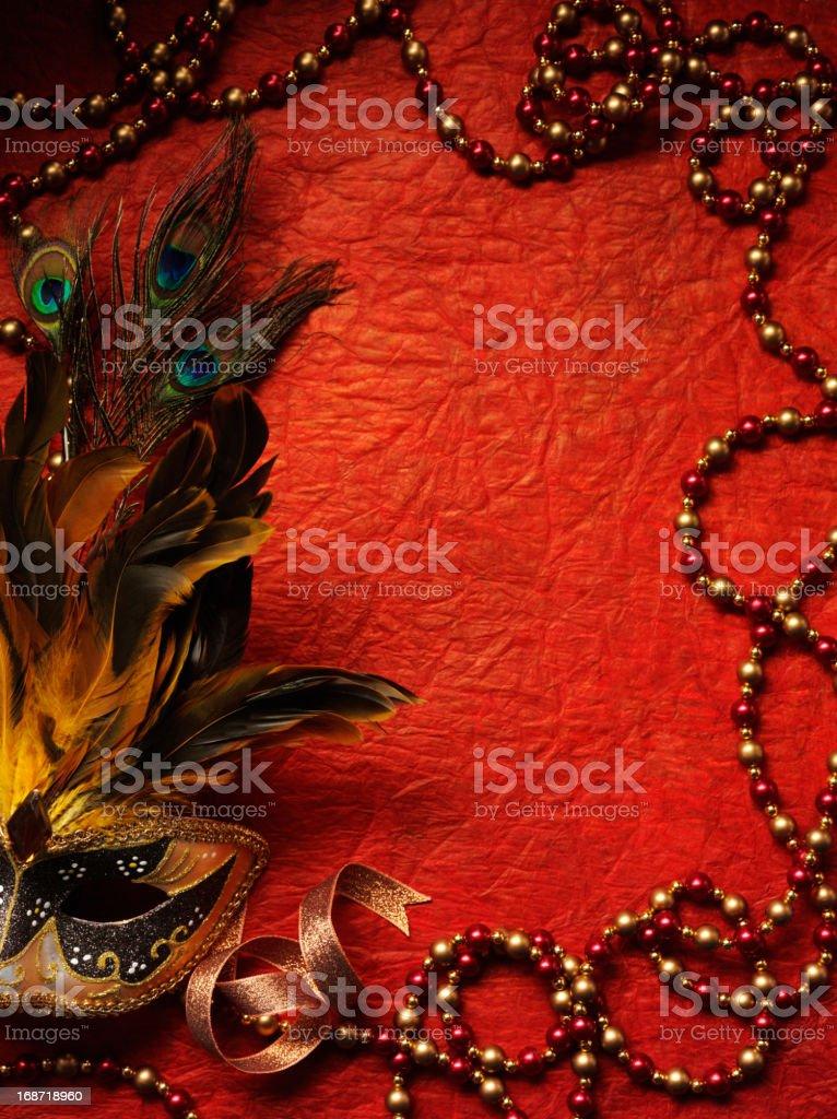 Masquerade Mask and Beaded Frame royalty-free stock photo