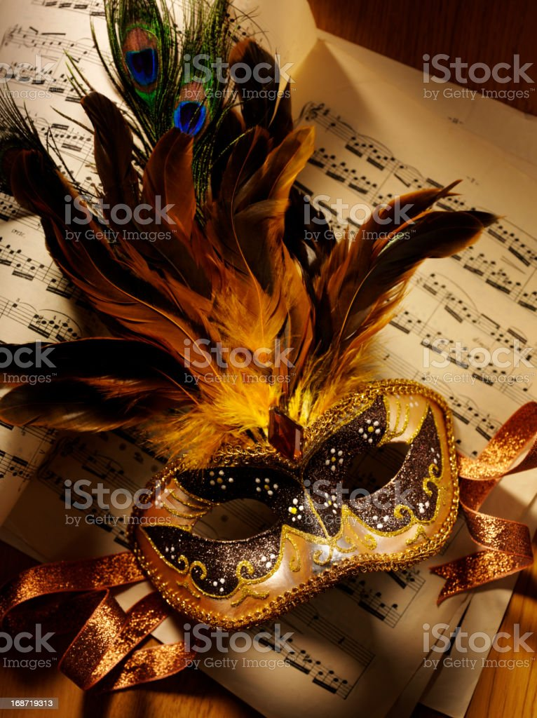 Masquerade Mask and Sheet Music royalty-free stock photo