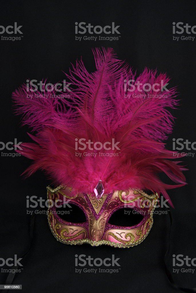 Masquerade mask with pink plume royalty-free stock photo