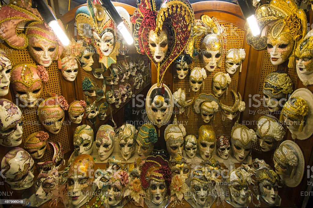 Masquerade masks in shop stock photo