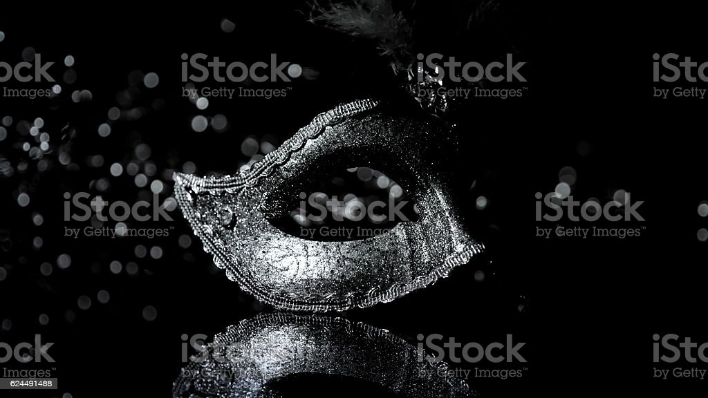 Masquerade venitian carnival mask, female theatrical feathers stock photo