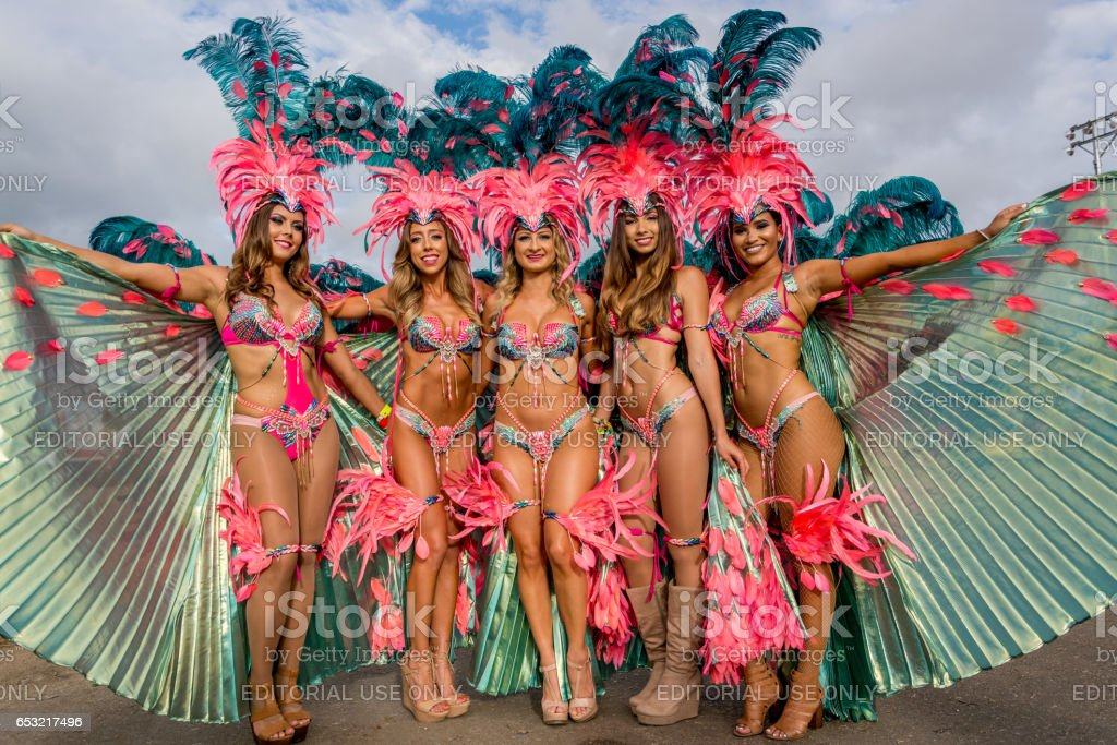 Masqueraders enjoy themselves in the Harts Carnival presentation-Ultraviolet Jungle stock photo