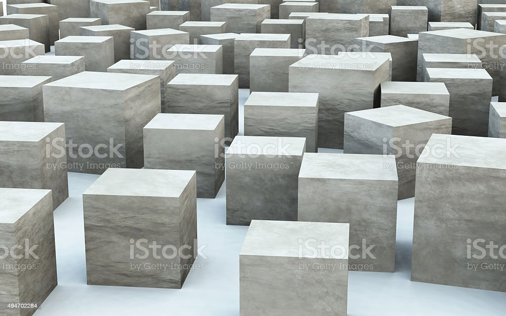 3D mass cube by stone material stock photo