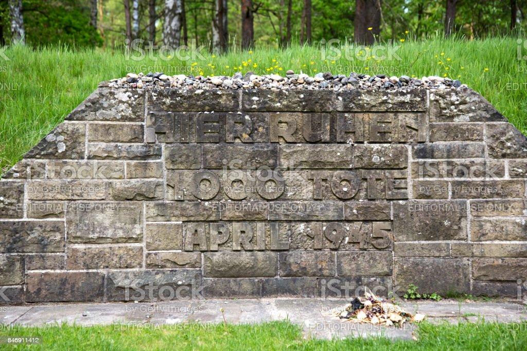 Mass grave Bergen-Belsen stock photo