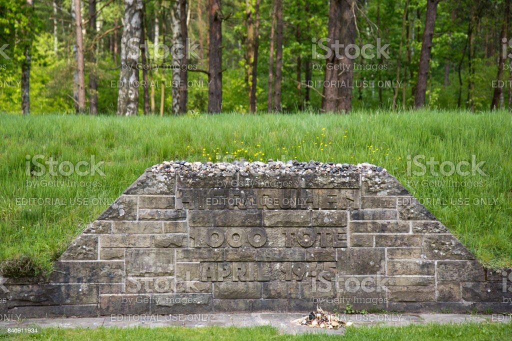 Mass grave memorial Bergen-Belsen stock photo