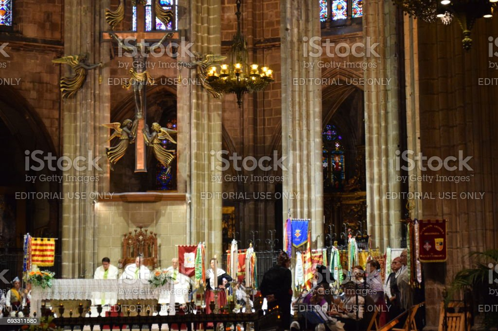 Mass in Barcelona cathedral stock photo