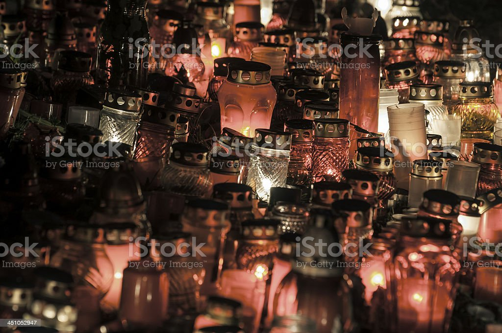 Mass of lampions in a cemetery stock photo