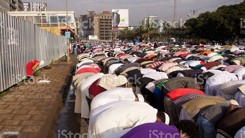 Mass praying stock photo