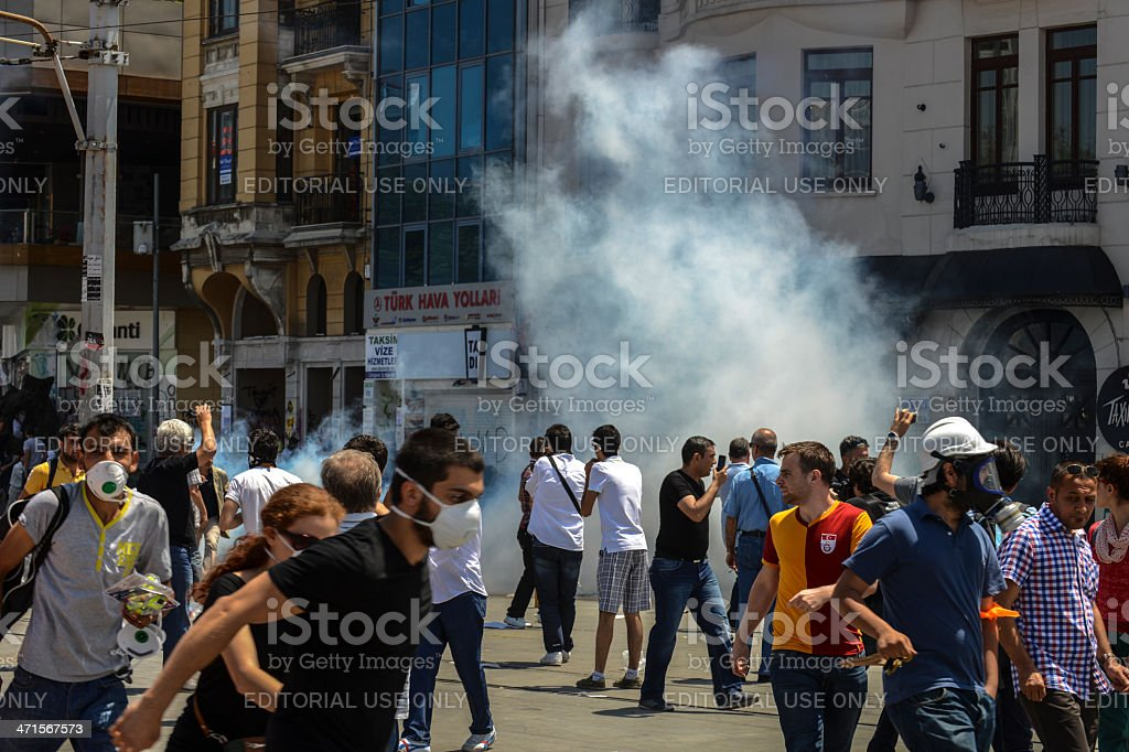 Mass protests on Taksim Square stock photo
