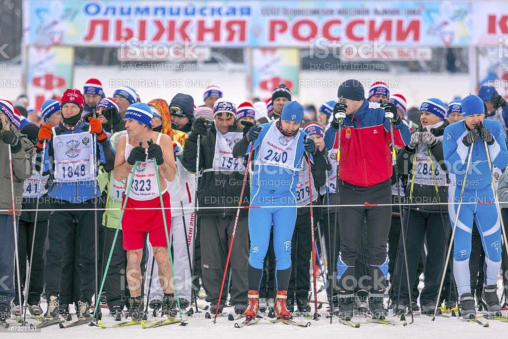 Mass start skiers stock photo
