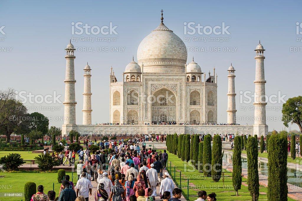 Mass tourism - crowded Taj Mahal in India stock photo