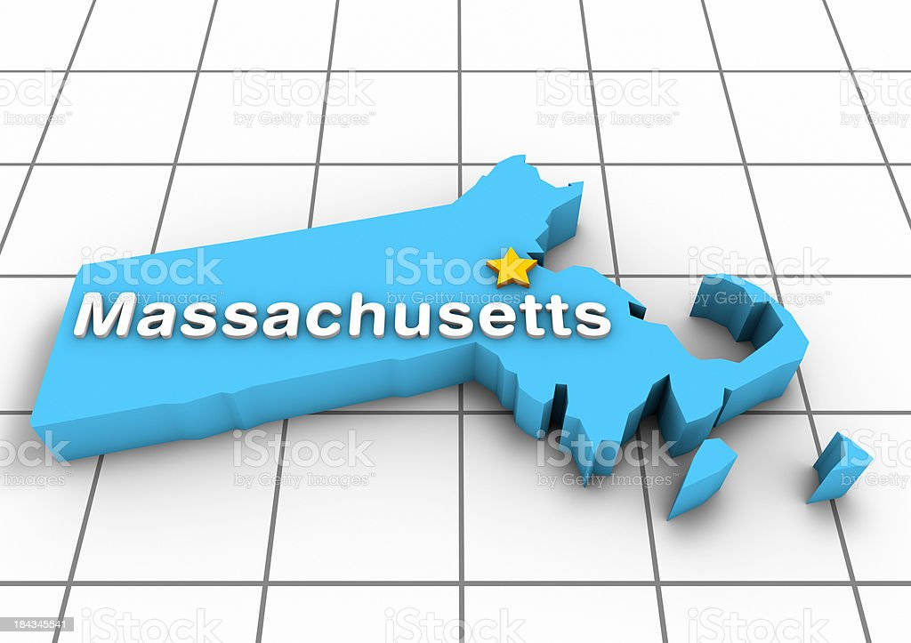 Massachusetts 3D State Map stock photo
