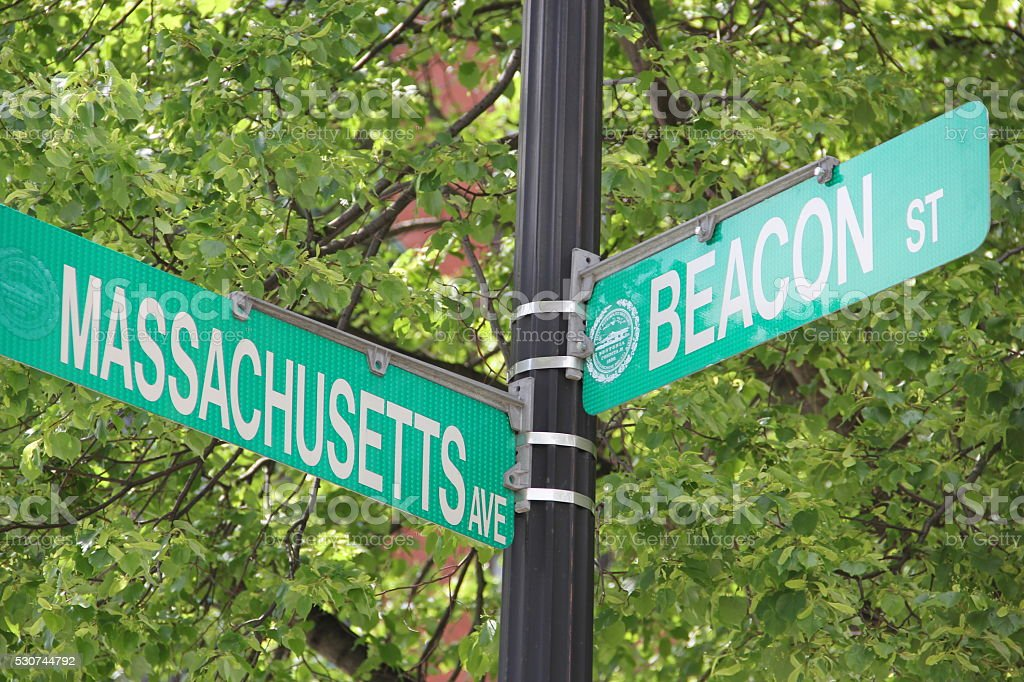 Massachusetts Avenue and Beacon street stock photo