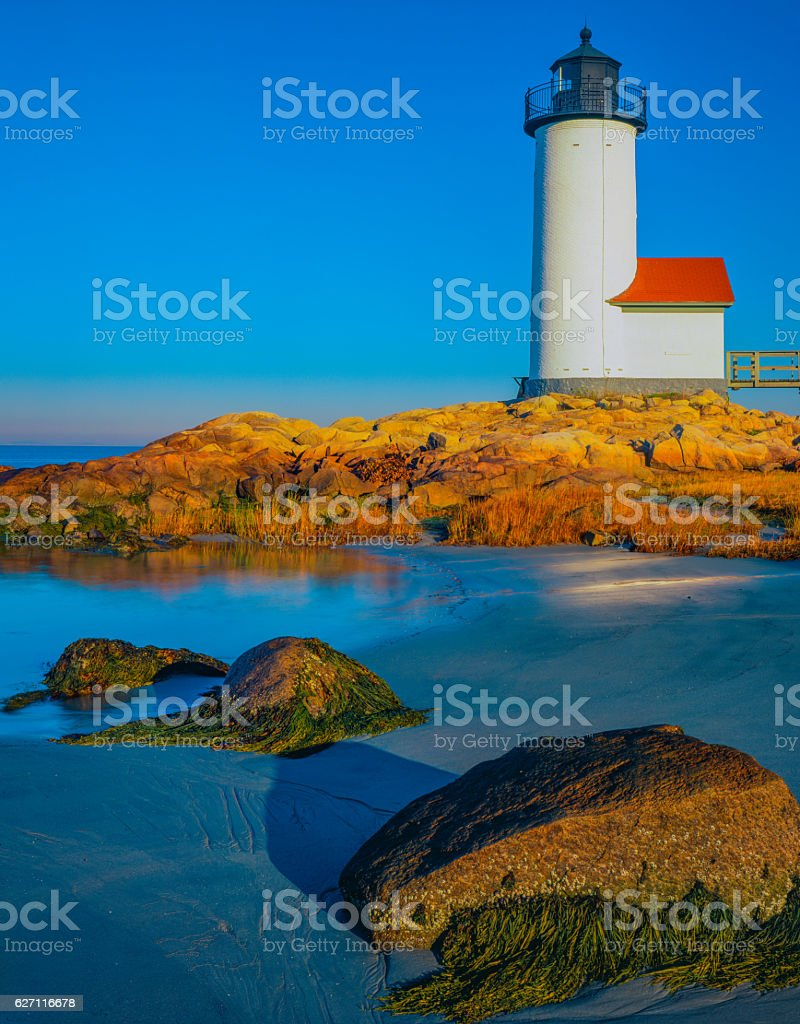 Massachusetts coast with Annisquam Lighthouse at Cape Ann; stock photo