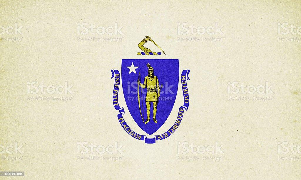 Massachusetts Flag Close-Up (High Resolution Image) stock photo