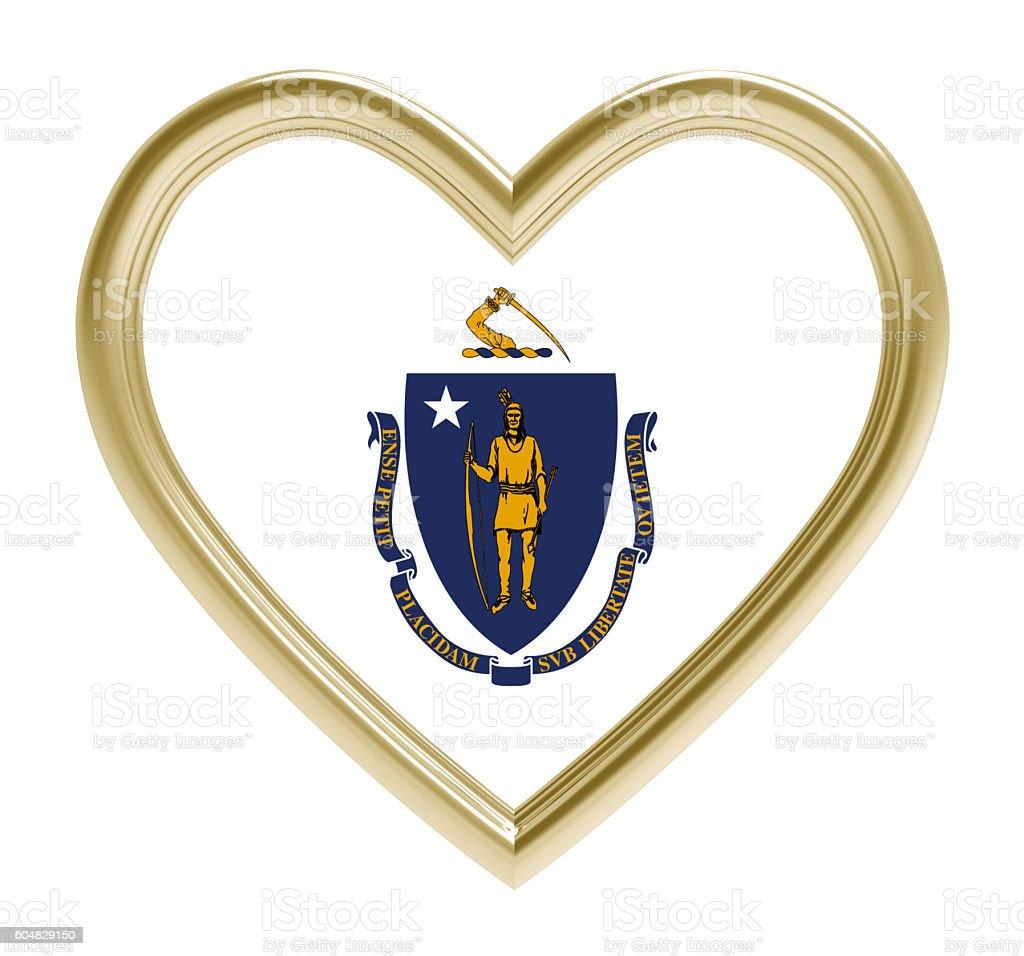 Massachusetts flag in golden heart isolated on white background. stock photo