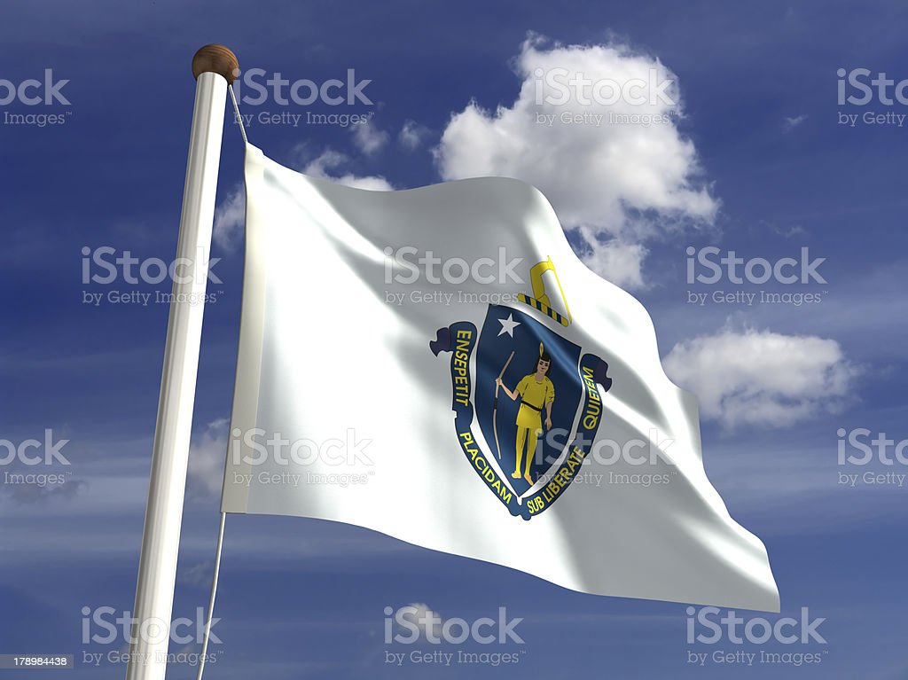 Massachusetts flag (with clipping path) stock photo