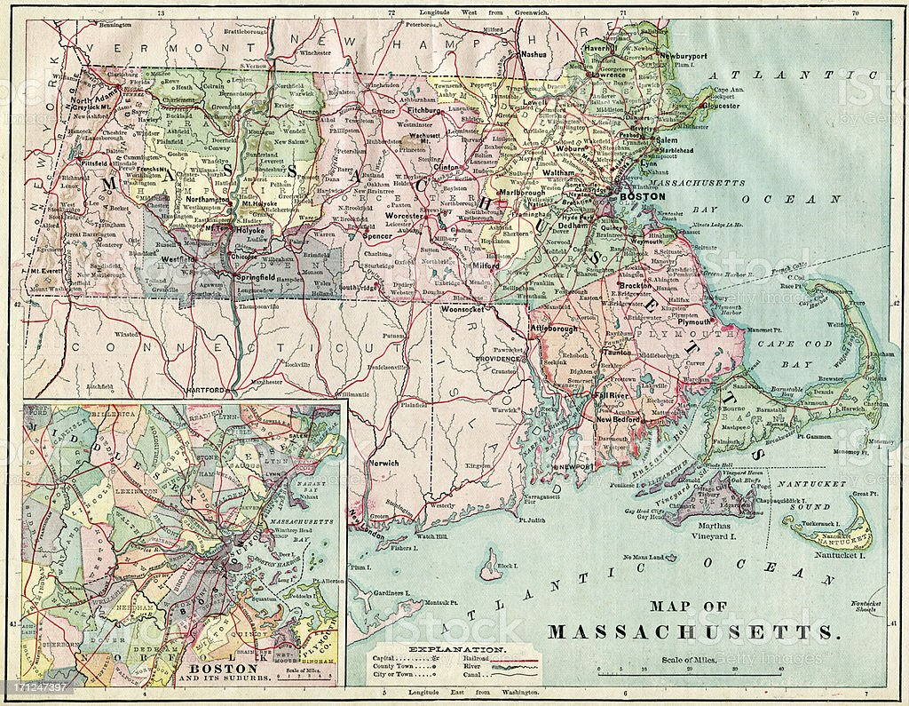 Massachusetts Map 1884 XXXL stock photo