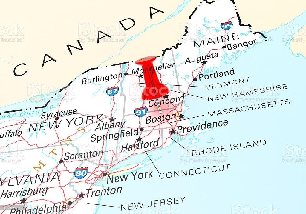 Massachusetts Map stock photo