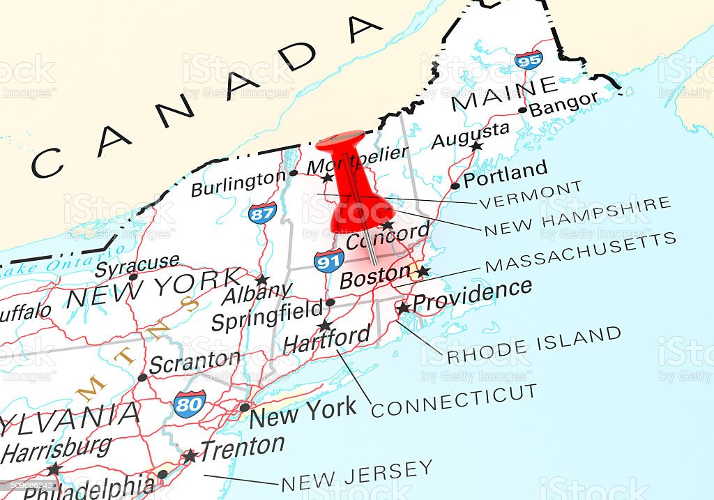 Massachusetts Map stock photo