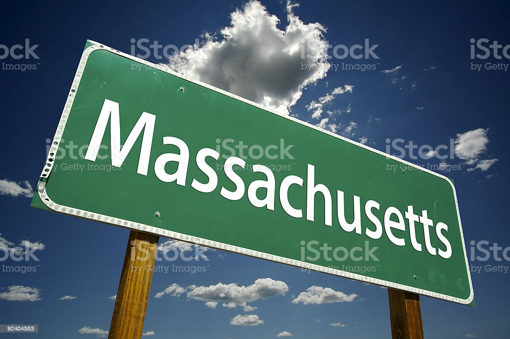 Massachusetts Road Sign stock photo