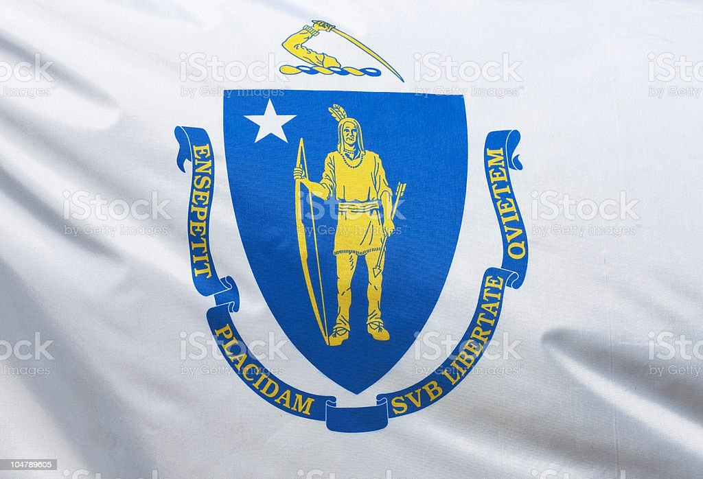 Massachusetts State Flag royalty-free stock photo