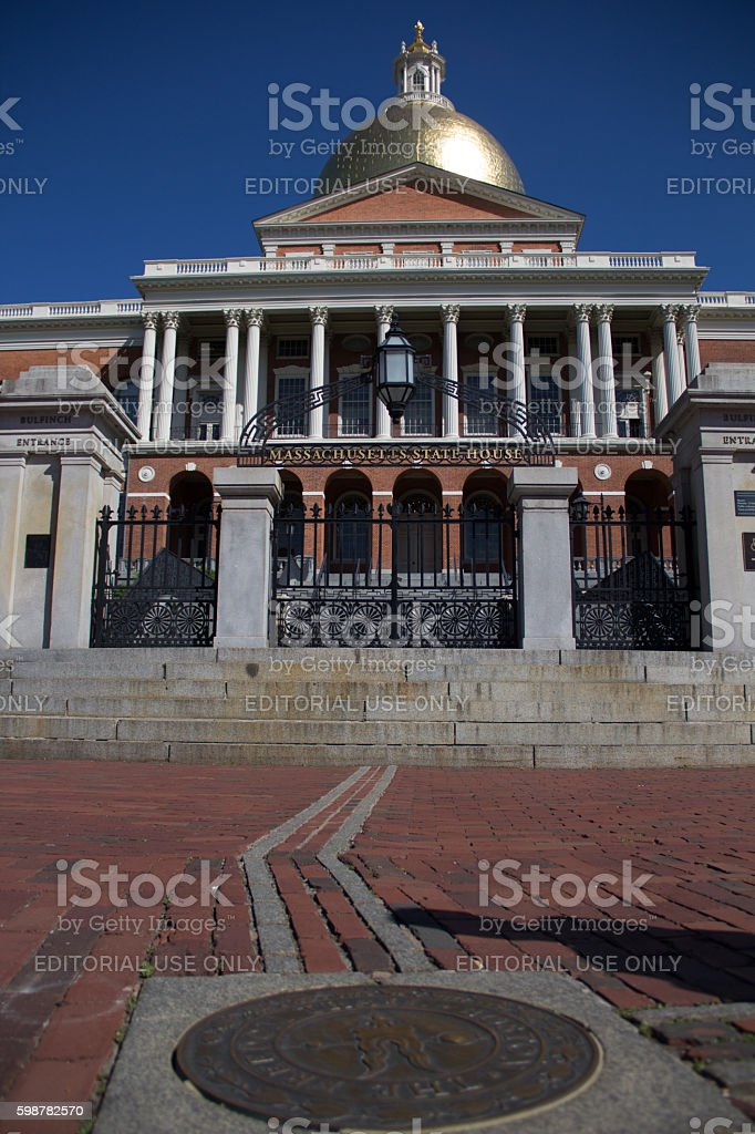 Massachusetts state house and Freedom Trail stock photo