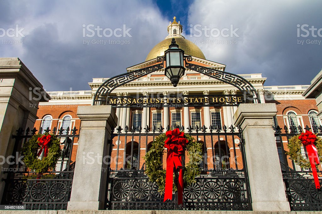 Massachusetts State House at Christmas stock photo