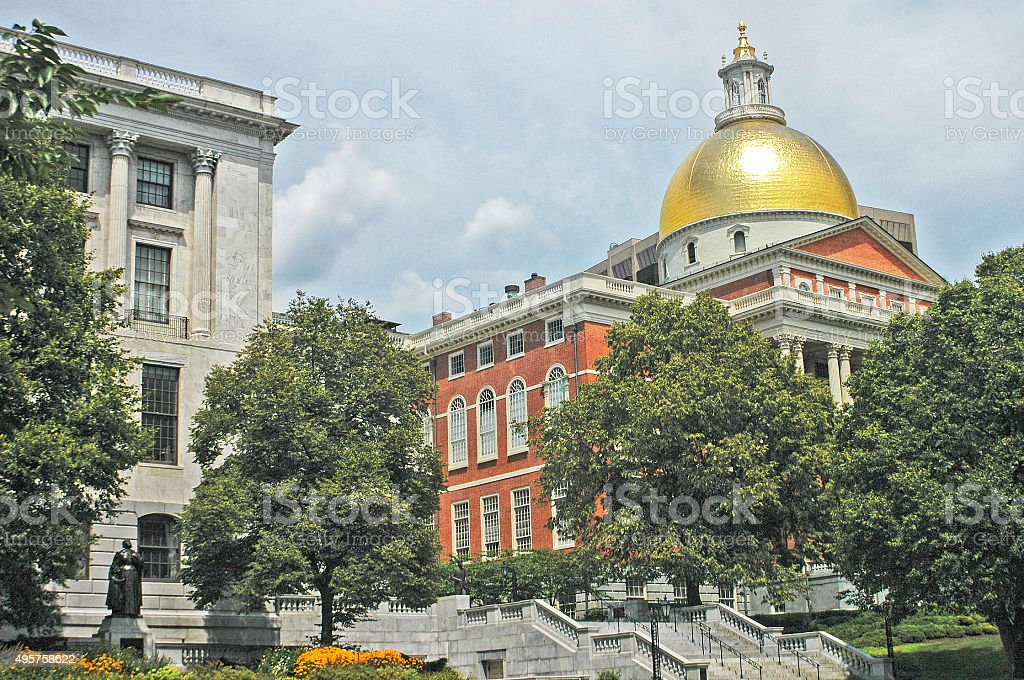 Massachusetts State House in Beacon Hill Bost stock photo