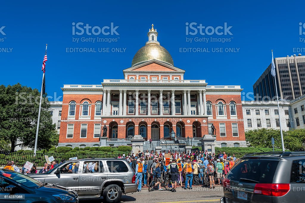 Massachusetts State House Protest stock photo